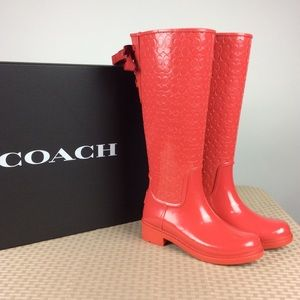 NIB Red Signature Coach Rainboots